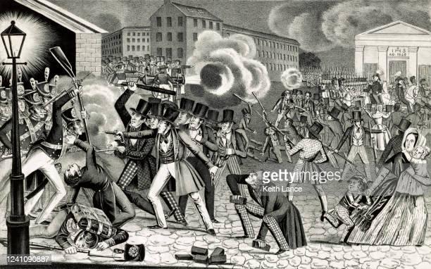 riots in philadelphia (1844) - 1840 1849 stock illustrations