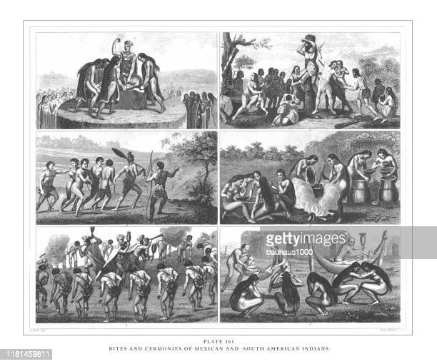 rites and ceremonies of mexican and south american indians engraving antique illustration, published 1851 - indigenous peoples of south america stock illustrations