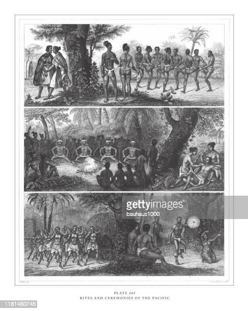 太平洋彫刻アンティークイラストの儀式と儀式、1851年発行 - 大昔の点のイラスト素材/クリップアート素材/マンガ素材/アイコン素材