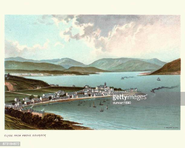 river clyde above gourock, inverclyde, scotland, 19th century - clyde river stock illustrations, clip art, cartoons, & icons