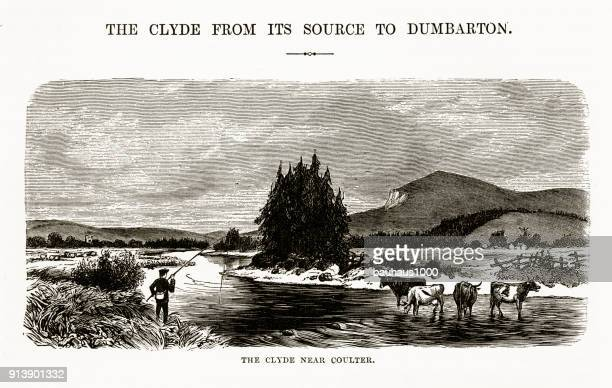river clyde near coulter, england victorian engraving, circa 1840 - clyde river stock illustrations, clip art, cartoons, & icons