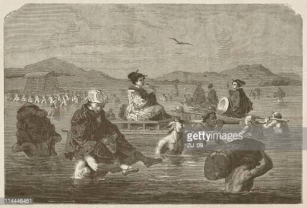 river crossing in japan, 19th century, wood engraving, published 1872 - sedan stock illustrations, clip art, cartoons, & icons