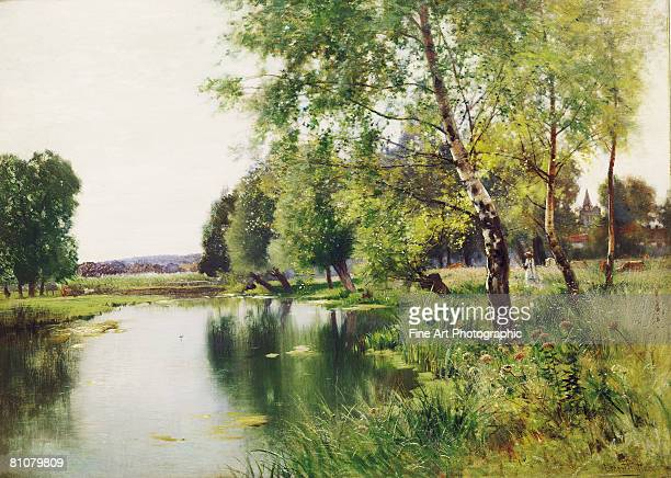 a river landscape in summer - outdoors stock illustrations