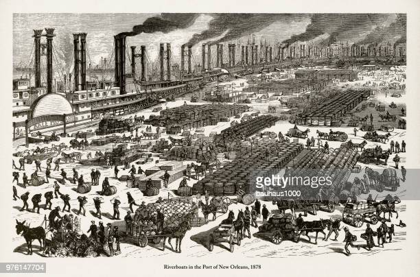 Riverboats in the Port of New Orleans Victorian Engraving, 1878