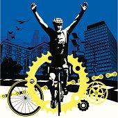 Road Bike Cyclist Winning the Race in a Big City