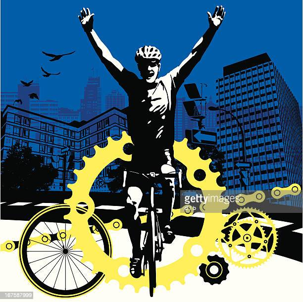 road bike cyclist winning the race in a big city - racing bicycle stock illustrations