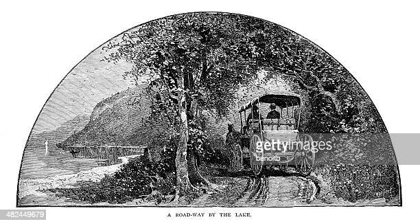 road by the lake - horsedrawn stock illustrations, clip art, cartoons, & icons