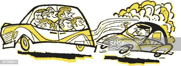 road rage - air pollution stock illustrations