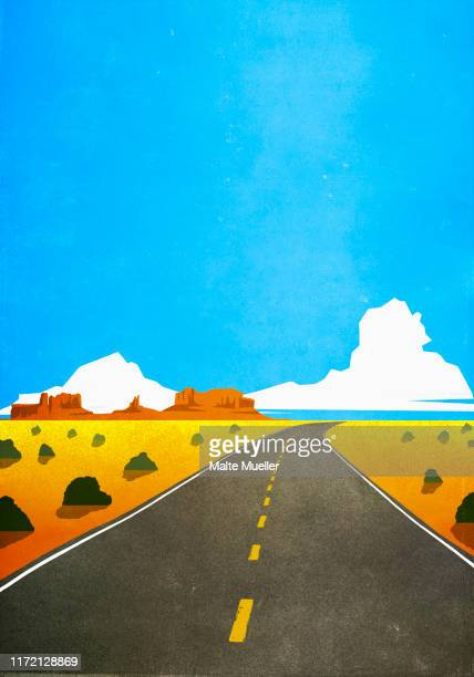 road through remote, arid desert landscape - silence stock illustrations