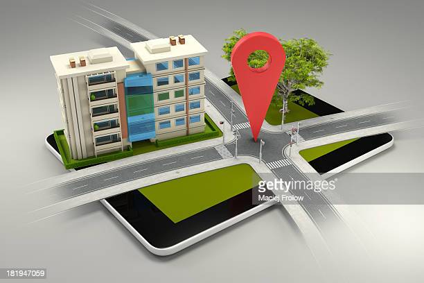 roads crossing, building and a gps marker - road stock illustrations