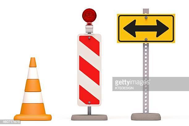 roadworks, conceptual artwork - road stock illustrations