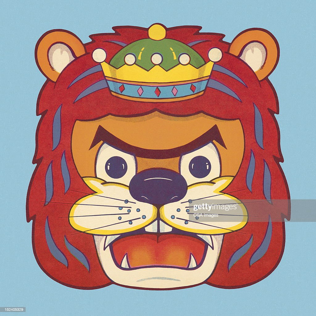 Roaring Lion Wearing Crown : Stock Illustration