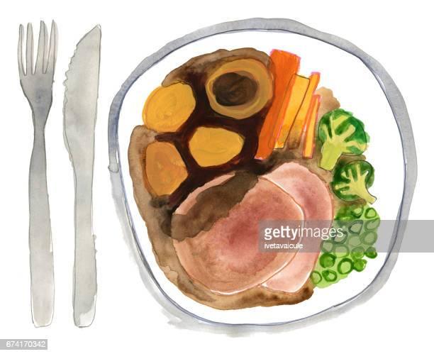 ローストビーフと野菜のディナープレート - ローストビーフ点のイラスト素材/クリップアート素材/マンガ素材/アイコン素材