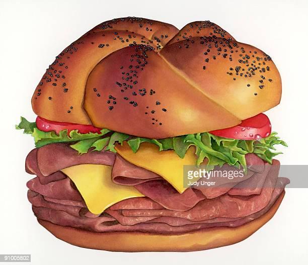 roast beef sandwich - ローストビーフ点のイラスト素材/クリップアート素材/マンガ素材/アイコン素材