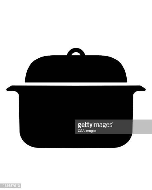 roasting pan - stew pot stock illustrations