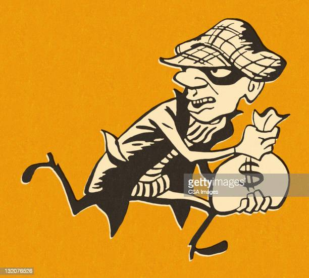 Robber Running Away With Money Bag