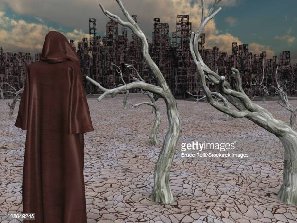 Robed Figure Before Detroyed City