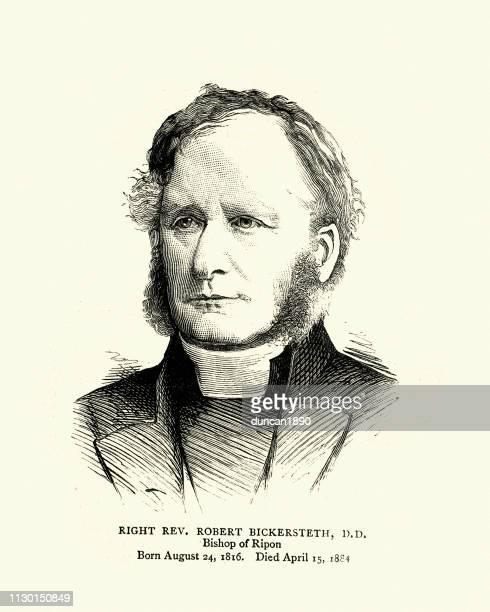 ilustrações, clipart, desenhos animados e ícones de robert bickersteth, bispo anglicano de ripon, século xix - bishop clergy