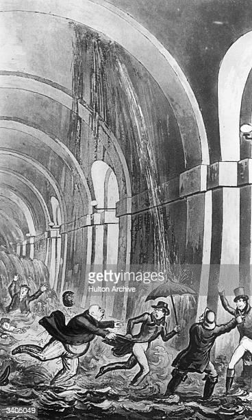 Robert Cruikshank's cartoon of people panicking as the Thames Tunnel floods