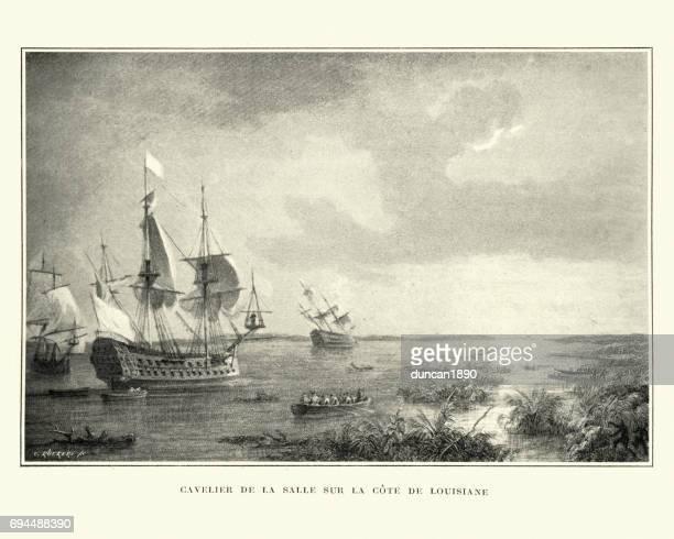 robert de la salle exploring the coast of louisiana - 17th century stock illustrations, clip art, cartoons, & icons