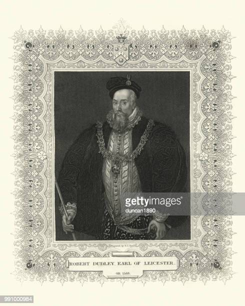 robert dudley, 1st earl of leicester - tudor stock illustrations