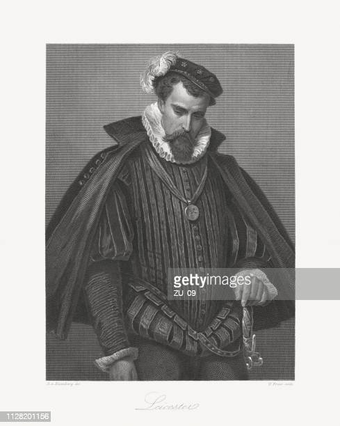 robert dudley, 1st earl of leicester (1532-1588), steel engraving, 1859 - renaissance stock illustrations