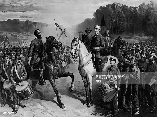 robert e. lee and stonewall jackson at battle of seven days - army stock illustrations