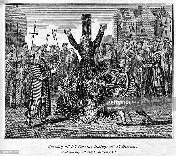 robert ferrar burned at the stake - south wales stock illustrations