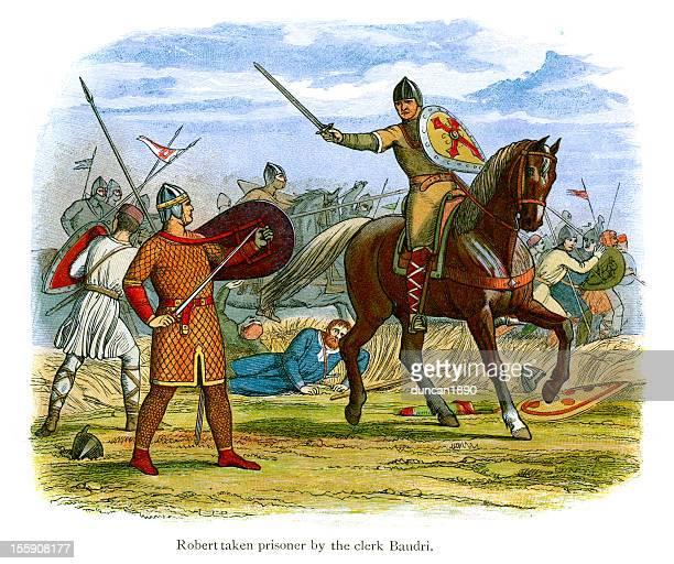 robert taken prisoner by the clerk baudri - normandy stock illustrations