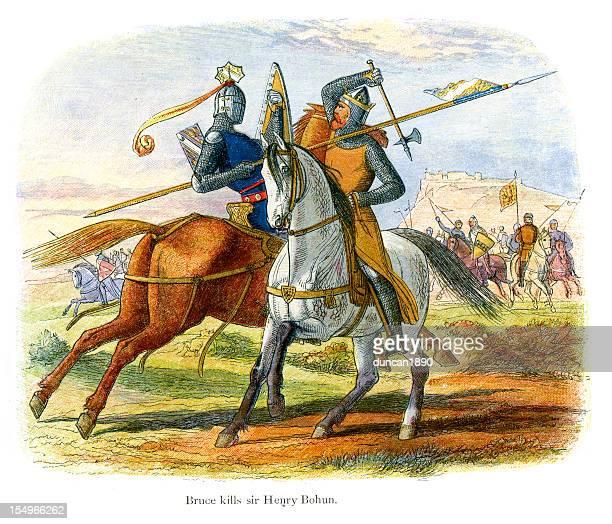 ilustraciones, imágenes clip art, dibujos animados e iconos de stock de robert the bruce mata sir henry bohum - edad media