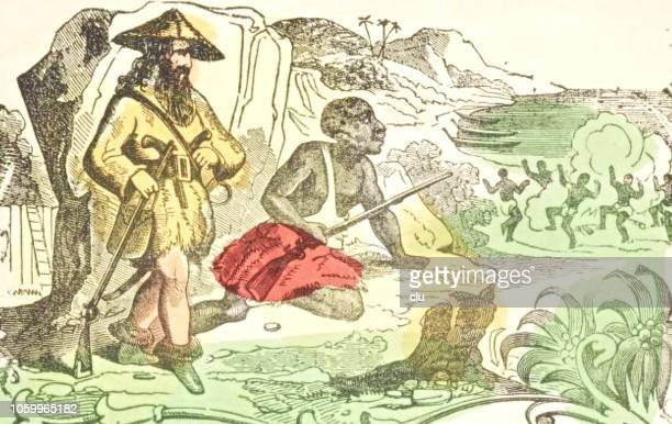 Robinson Crusoe and Friday watching the party of the cannibals