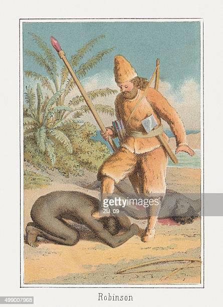 robinson crusoe, published c. 1875 - friday stock illustrations, clip art, cartoons, & icons