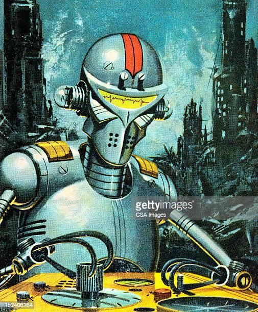 Robot Among City Ruins