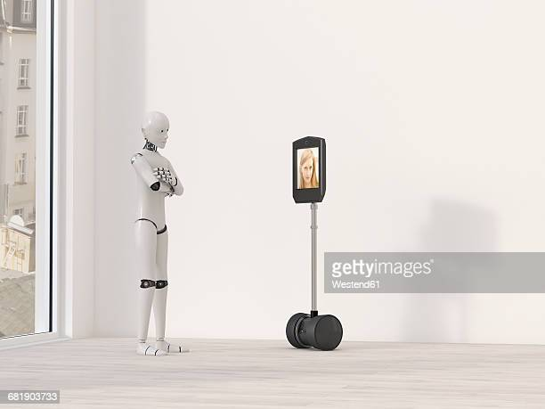 robot at video conference, 3d rendering - female likeness stock illustrations