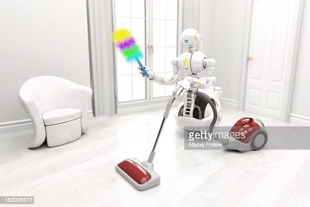 Robot cleaning a house with vacuum cleaner