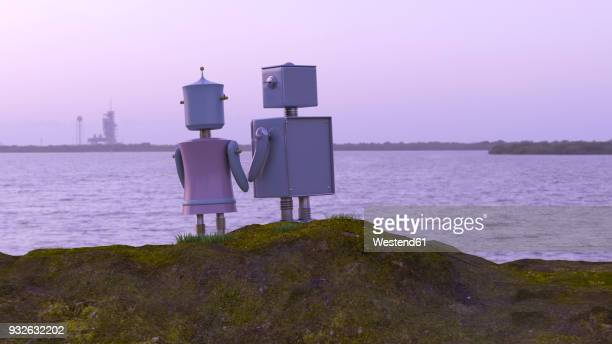 Robot couple at the coast looking at the sea, 3d rendering