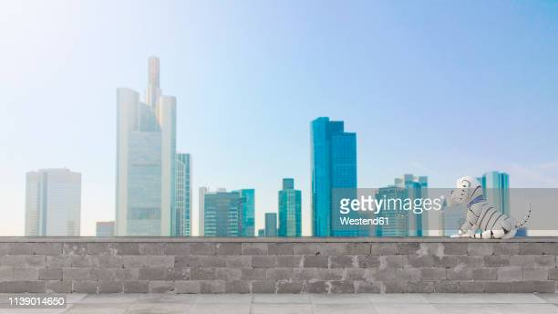 robot dog looking at skyline, 3d rendering - germany stock illustrations