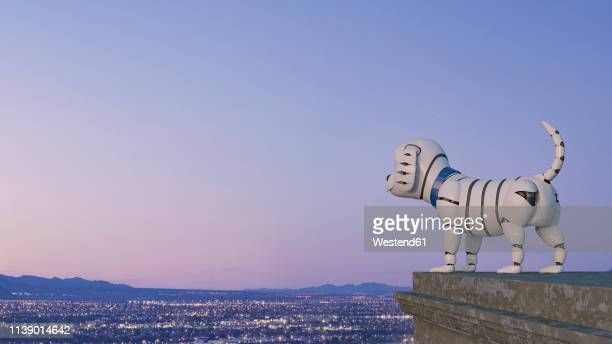 robot dog looking at skyline at night, 3d rendering - robot stock illustrations