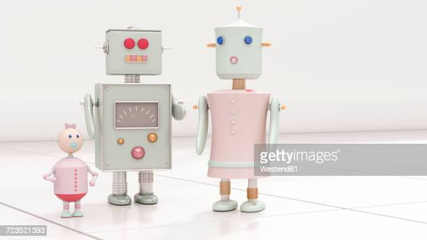 robot family, 3d rendering - female likeness stock illustrations