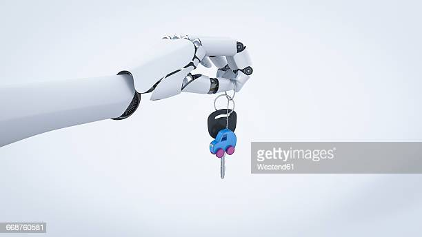 robot hand giving car key, electric car - land vehicle stock illustrations