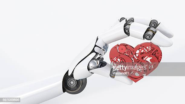robot hand holding cogwheel heart - automated stock illustrations