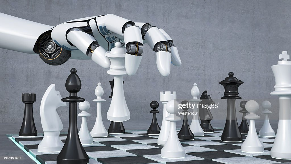 Robot Hand Playing Chess 3d Rendering Stock Illustration