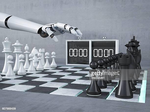 ilustraciones, imágenes clip art, dibujos animados e iconos de stock de robot hand, playing chess, starting, clock, 3d rendering - tablero de ajedrez