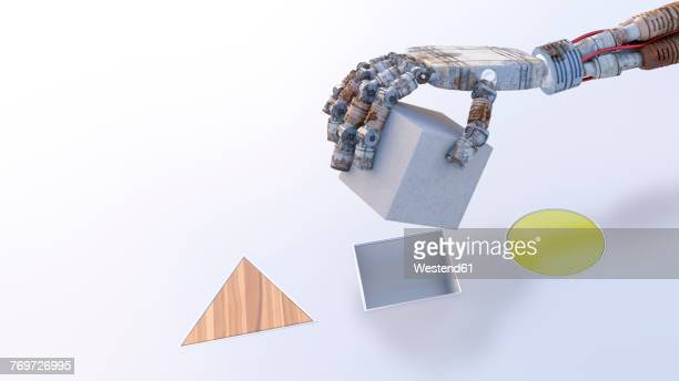 robot hand putting a cube into matching hole - coordination stock illustrations, clip art, cartoons, & icons