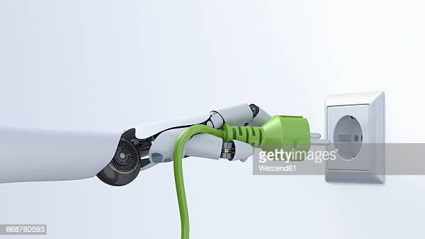 robot hand with green plug, plug socket, 3d rendering - artificial intelligence stock illustrations