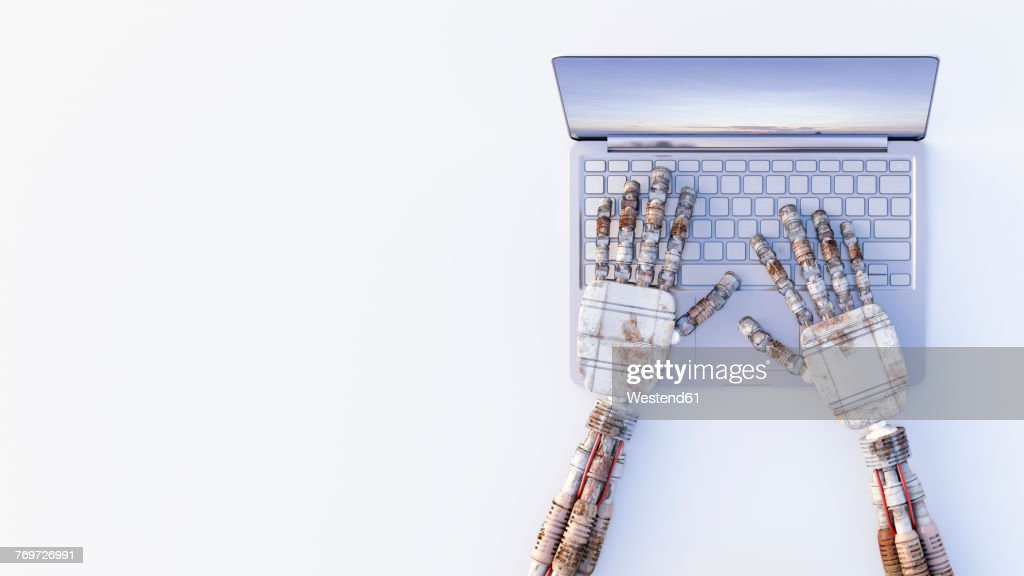 Robot hands typing on a laptop : stock illustration