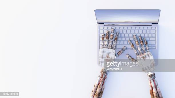 robot hands typing on a laptop - automated stock illustrations
