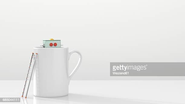 Robot hiding in a mug, 3d rendering