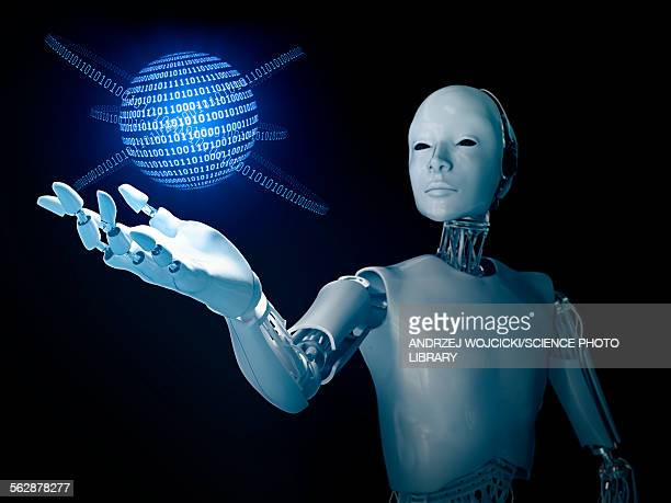 Robot holding a binary code sphere