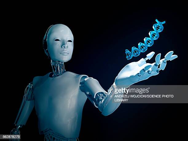 Robot holding DNA, illustration